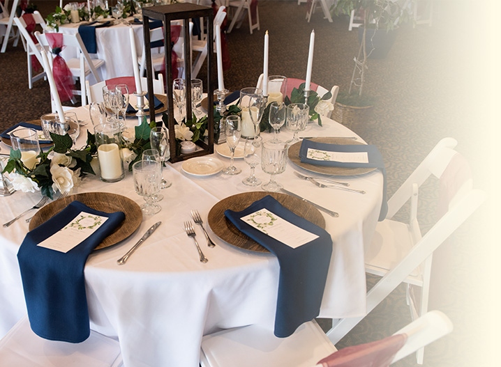 wedding or celebration table setting in event room