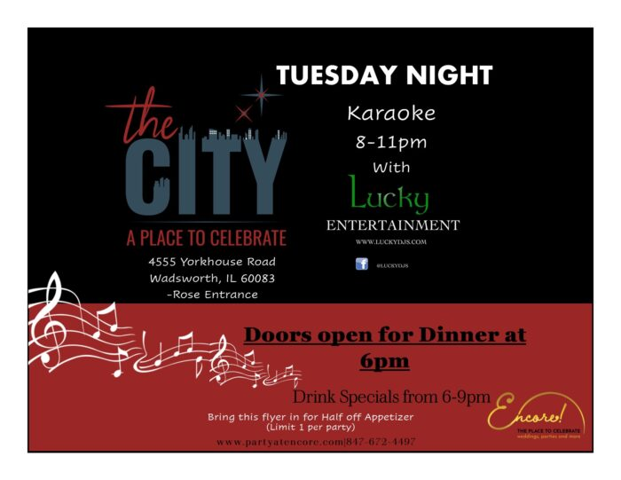 The City - Tuesday Night Karaoke 8-11pm with Lucky Entertainment - Doors open for Dinner at 6pm